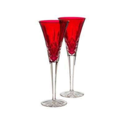 Set of 2 Crimson Waterford Crystal