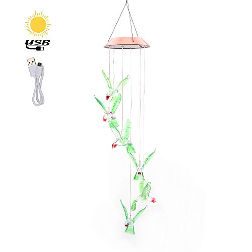 (Solar Hanging Lamp, Color-Changing Led Decorative Light Charging by USB and Mobile Solar Power for Home/Yard/Pation/Garden)