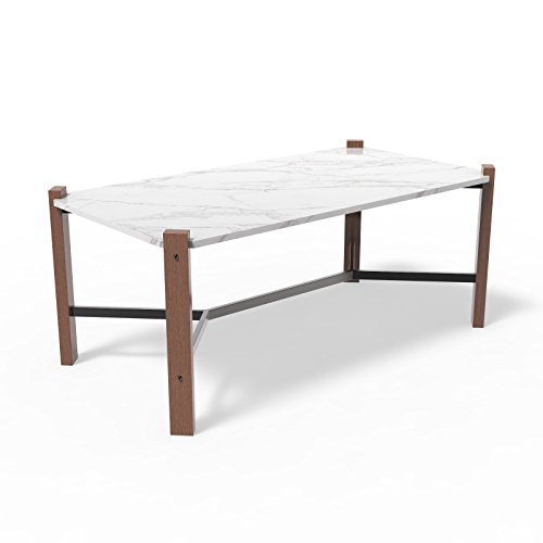Giantex Modern Coffee Table White, Wood Look Accent Furniture with X Shape Cross Metal for Living Room, Faux Marble Top for Easy Clean