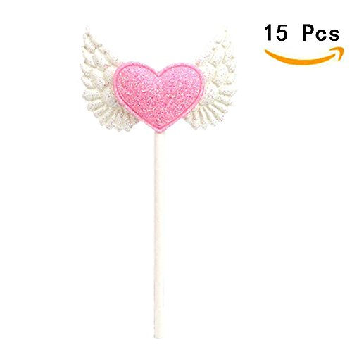 15pcs Blingbling Angel Wing Heart Cupcake Toppers Pink Food Decorations Wedding Party Supplies by Funbase