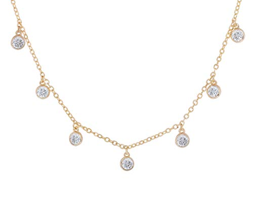 - NYC Sterling Women Cubic Zirconia 5MM Droplets Station Necklace (Gold-Plated-Brass)