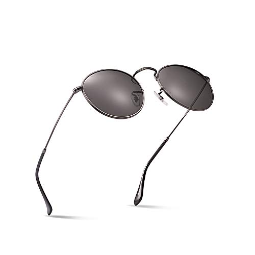 2020Ventiventi John Lennon AK17018 Silver Frame/Smoke Lens Round 48mm Stainless Steel Polarized Small Sunglasses