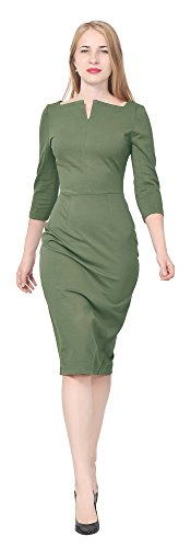 Marycrafts Women's Work Office Business Square Neck Sheath Midi Dress 18 Olive (Plus Square Neck)