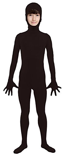 VSVO Kids Black Open Face Full Body Zentai Supersuit Costumes (Large, Black) (Sexy Holloween Costumes)