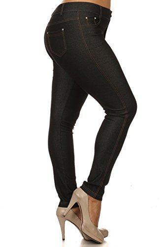 Womens Plus Size Cotton Blend Stretchy Jeggings With 5 Pockets (Black, XXXL)