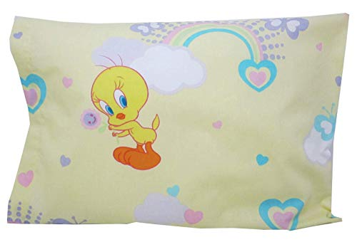 (Toddler Pillowcase 16x20 Tweety Rainbow Hearts Butterflies Fits Size 14x19 Pillow Kids Bedding)