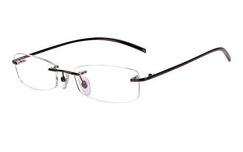 Agstum Pure Titanium Rimless Glasses Prescription Eyeglasses Rx (Gray, 53) by Agstum (Image #2)