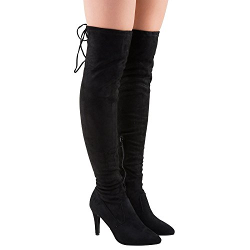 Womens Top Tie Mid Over First Rochelle The Feet Faux Suede Heel Black Knee Stiletto Fashion Boots qvngPwFwt