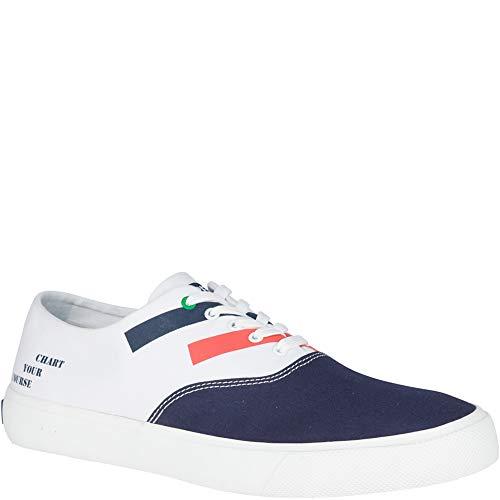 Sperry Top-Sider Captain's CVO Prep Charter Stripe Sneaker Men 13 Navy/White