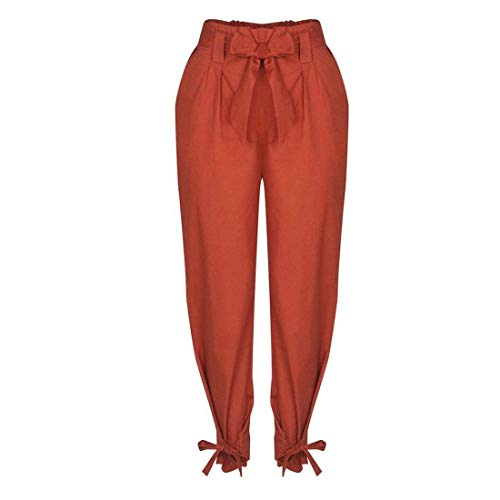 Damigella Modern Primaverile Vita Waist Eleganti Cintura Pants Trousers Pantaloni Lunga Tasche Marrone Baggy High Con Stoffa Alta A Farfalla Cravatta Monocromo Donna Estivi Di Stile Inclusa Moda qzUzWScEn