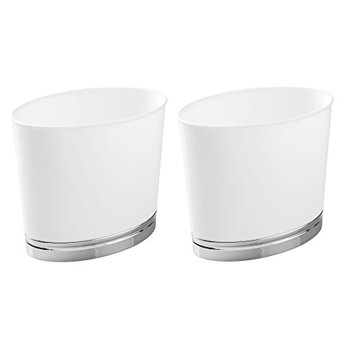 mDesign Oval Slim Decorative Plastic Small Trash Can Wastebasket, Garbage Container Bin for Bathrooms, Kitchens, Home Offices, Dorm Rooms - 2 Pack - White/Chrome