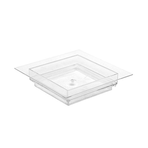 Arant 0.5oz Clear Square Dessert Plates, Set of 24, Ideal for Dessert and Appetizer in Parties, Catering Supplies and Testing