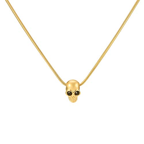 (G&S Punk Skull Skeleton Pendant wich Snake Chain Hip Hop Rapper Necklace for Men Gold)