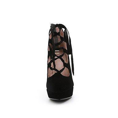 Talones de las mujeres Primavera Verano Otoño Invierno con cordones de cuero Otro oficina y carrera Fiesta y Noche Tacón de Aguja Vestido Negro Black