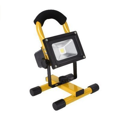 econoLED 10W Rechargeable Portable LED Work Light, AC Adapter and Car Charger Included, Waterproof, Outdoor Floodlight,Yellow US Seller