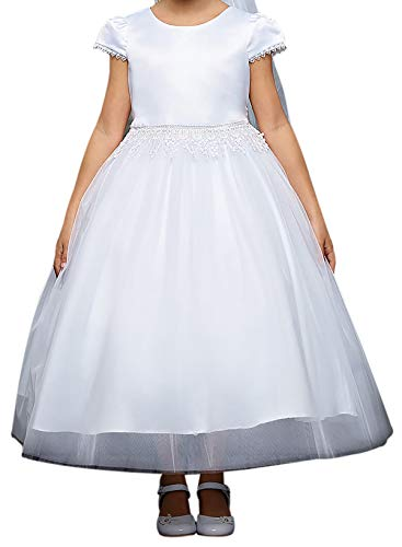 (Big Girl Classic Modern First Communion Wedding Party Flower Girl Dress White 12 KD)