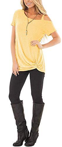SAMPEEL Women's Cold Shoulder T Shirts Twist Knot Tunics Tops 4