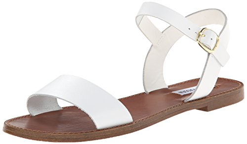 (Steve Madden Women's DONDDI Sandal, White Leather, 5.5 M US)