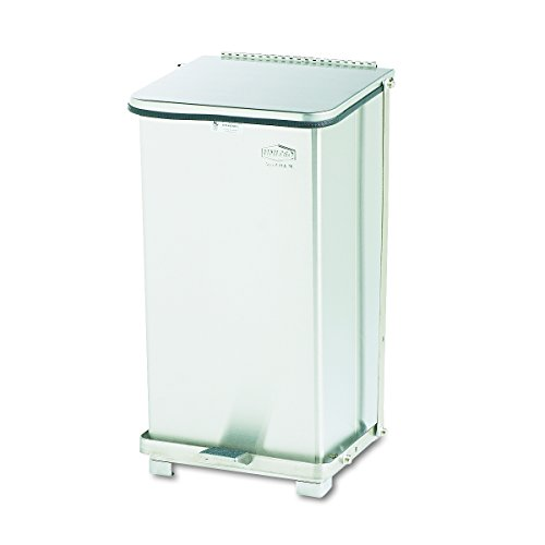 Rubbermaid Commercial ST12SSPL Defenders Biohazard Step Can, Square, Steel, 12gal, Stainless Steel ()