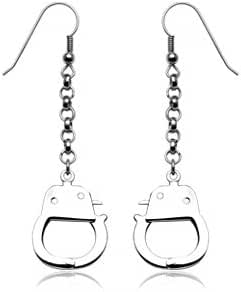 316L Stainless Steel Hook Earrings with Dangling Handcuffs - Approx 70mm long - Sold as a Pair