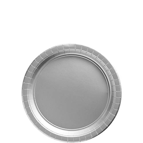 Amscan Silver Paper Plate Big Party Pack, 50 Ct.]()