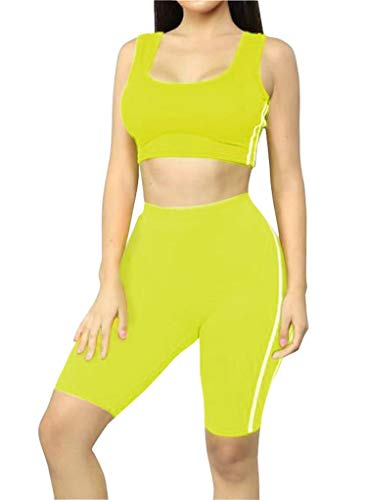 Women's Tank Crop top Short Pants Two Pieces Outfit Casual Sport Set Neon Green
