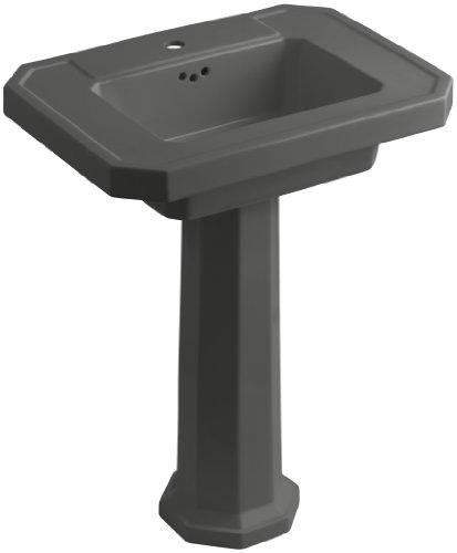 Grey Kathryn Pedestal Lavatory (KOHLER K-2322-1-58 Kathryn Pedestal Bathroom Sink with Single-Hole Faucet Drilling, Thunder)