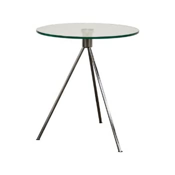 Beau Baxton Studio Triplet Round Glass Top End Table With Tripod Base