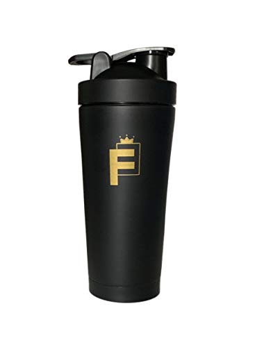 F3 Double Insulated Wall Leak Proof Stainless Steel Protein Shaker/Sports Water Bottle/Coffee Travel Mug BPA Free (Gold)