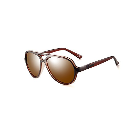 2020VentiVenti Mens Aviator Transclucent Brown Frame/Brown Lens Oval 52mm Double Bridge Lightweight Polarized Driving Sunglasses