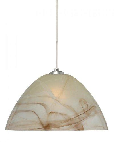 Besa Lighting 1JC-420183-LED-SN 1X6W GU24 Tessa LED Pendant with Mocha Glass, Satin Nickel Finish