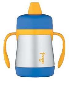 THERMOS FOOGO Vacuum Insulated Stainless Steel 7-Ounce Soft Spout Sippy Cup with Handles, Blue/Yellow