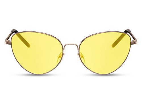 UV400 Montura Gato de Sol Gold2 Cheapass de Redondas Gafas Metálica Ojo Mujer 8W6Fq