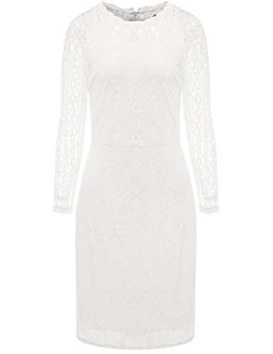 Aphratti Women's Long Sleeve Vintage Lace Overlay Midi Cocktail Dress White Medium (Vintage Wardrobe Company)