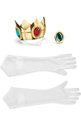 Princess Peach And Mario Costumes - Disguise Women's Nintendo Super Mario Bros.Princess Peach Adult Costume Accessory Kit, Gold/Red/Green/White, One Size