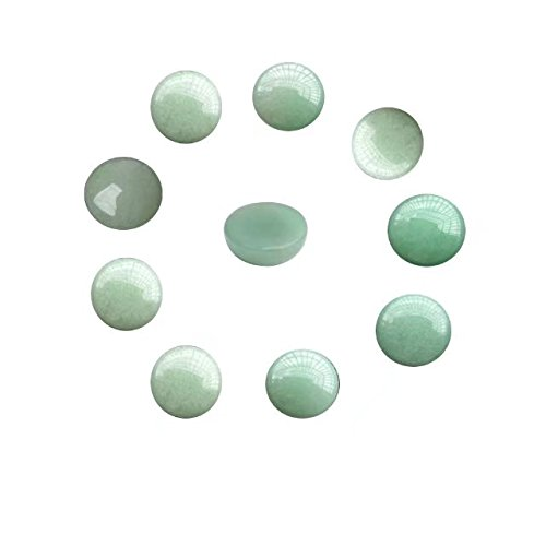 10 Pcs Assorted Gemstone and Crystal Round 16mm Mixed Color Flat Back Dome Cabochons Beads Lots Wholesale for DIY Jewellery Making (No Hole Random Color) SKYBEADS