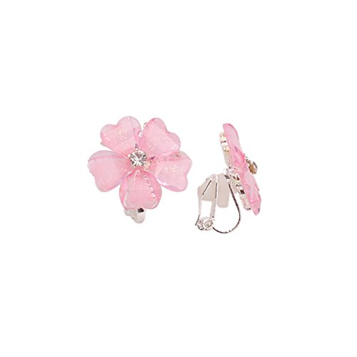 Earrings Clip Flower Rhinestone - Grace Jun Silver Plated or Gold Plated Opal Flower Shape Clip on Earrings Non Piercing for Women (Pink)