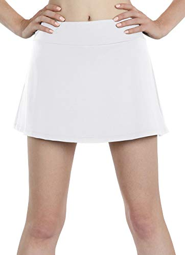 icyzone Athletic Skirts for Women - Workout Running Golf Tennis Skort with Pockets (S, White)