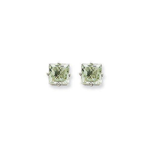 14k White Gold 6mm Square Green Quartz Earrings 7x7 (6 Mm Square Green)