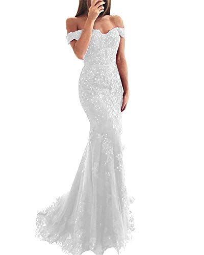 YSMei Off Shoulder Lace Wedding Prom Dresses Long Mermaid Formal Party Gown Ivory Custom]()