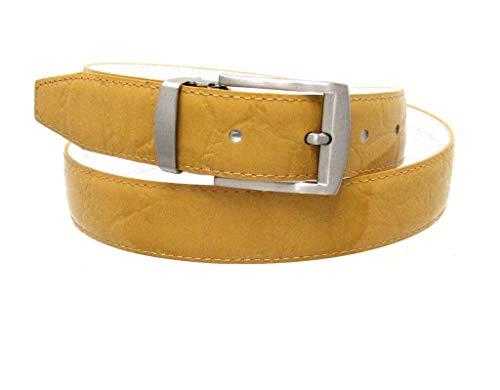 RDumani Men's Belt Mustard Alligator Crocodile Embossed Leather 30mm 1.25