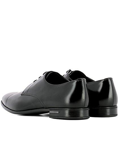 Cuir Noir Hommes Prada Chaussures À Lacets
