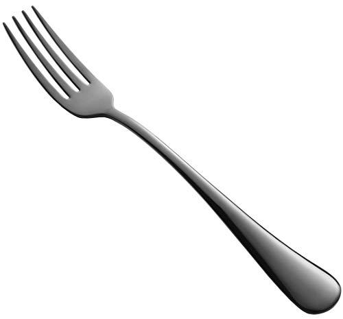 Black Heavy Dinner Forks Set of 6, Black Stainless Steel 18/10 Flatware Silverware 7.95-Inch Table Forks 6-Piece, Mirror Polishing, Dishwasher Safe