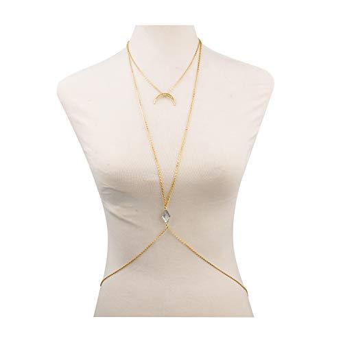 Display Belly Jewelry (Bestjybt® Bikini Moon Diamond Crystal Charm Crossover Harness Waist Belly Body Chain Necklace)