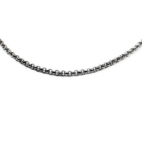 Accents Kingdom 6mm Titanium Men's Rolo Chain Necklace 24'' by Accents Kingdom