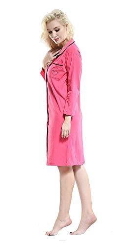 Betrothales De Redondo Impresos 3 4 Mujeres Cuello Rose Noche Pijamas Moda Manga Ropa Elegante Camisones Cómoda Interior Suelta Camisón rfPRxr