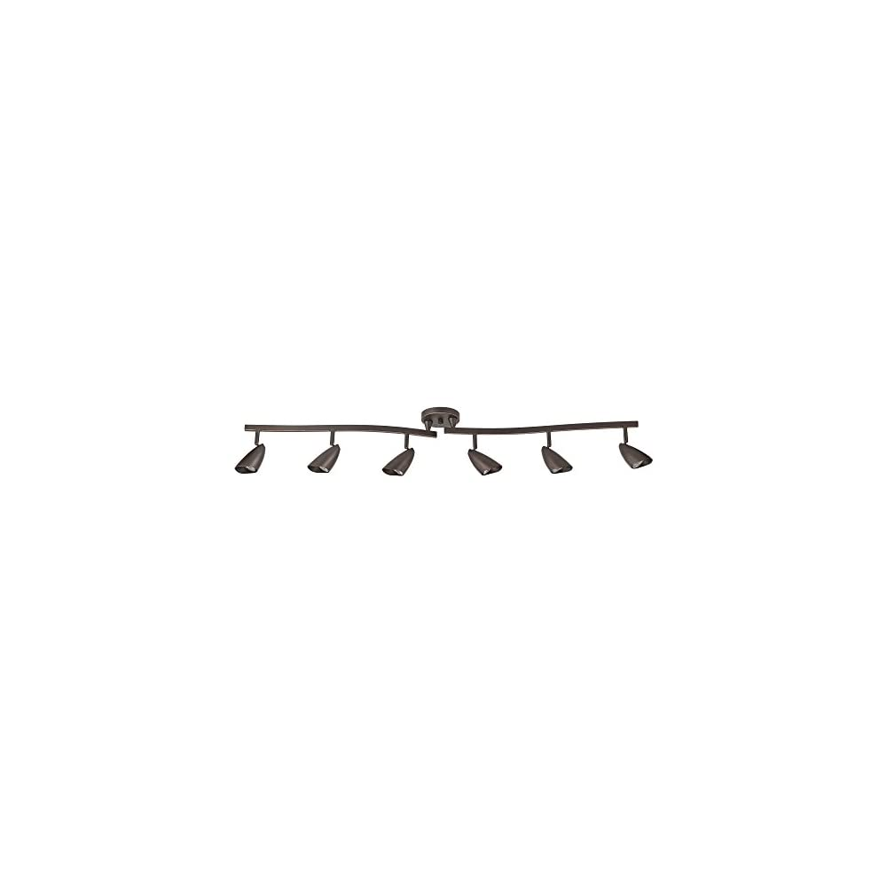 Globe Electric 59376 Grayson 6-Light Adjustable S-Shape Track Lighting, Bronze Color, Oil Rubbed Finish, Bulbs Included…