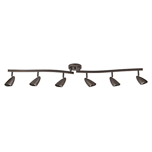 Globe Electric 59376 Grayson 6-Light Oil Rubbed Bronze Adjustable S-Shape Track Lighting, Bulbs Included, Oil Rubbed Bronze (Bar Ceiling Lighting)