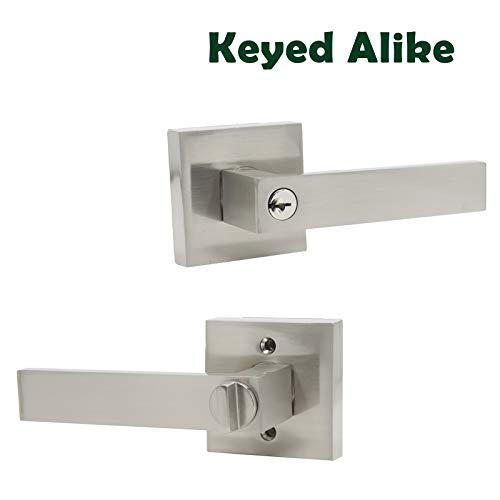 Probrico Keyed Entry Door Lever Combo Pack, Keyed Alike Entrance Lock Brushed Nickel, Heavy Duty Lock Set Exterior Hardware for Front Door Gate