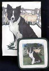 Pipsqueak Productions DP935 Dish Towel and Pot Holder Set - Border Collie by Animal Den